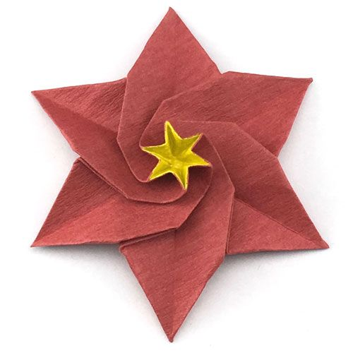 Learn How To Make A Six Petals Origami Poinsettia Flower Christmas