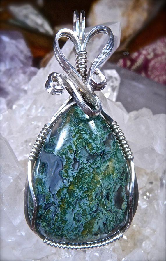 Aquamarine Bead Wire Sculpted Pendant in Argentium Silver