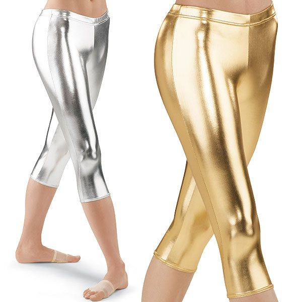 517c3c80a6e Metallic Capri Leggings  Gold