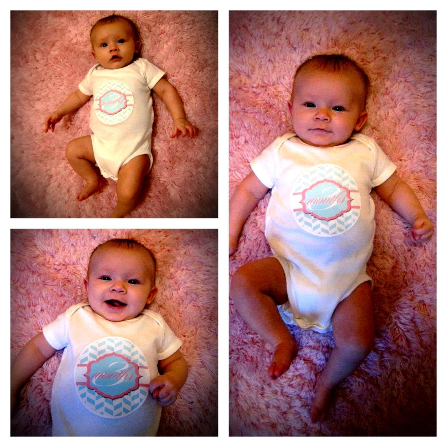 Monthly Onesies - Pink and Blue - Printable - Stickers or Iron on Transfers. $6.00, via Etsy.  @Gretchen Sloan