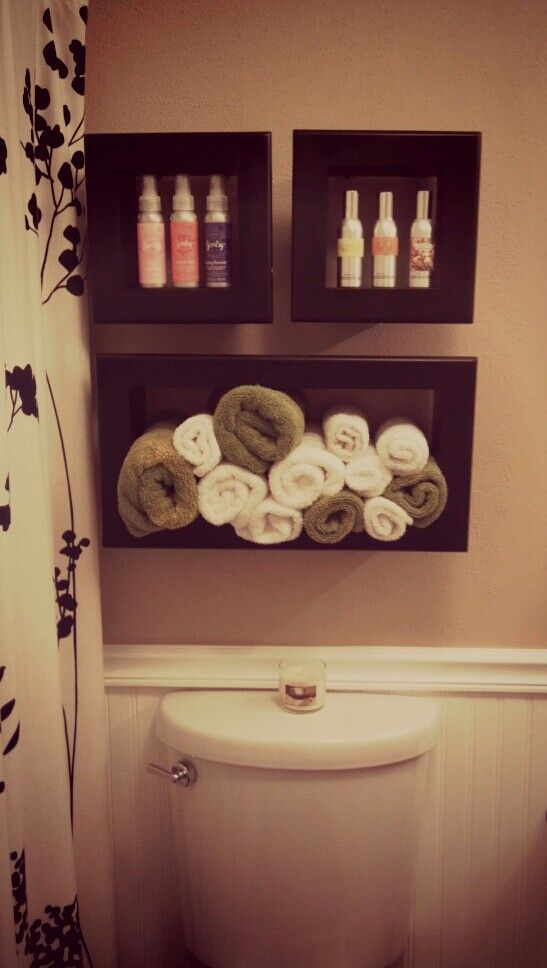 Shadow Boxes On The Bathroom Wall To Display Hand Towels And Keep Air  Fresheners Handy!