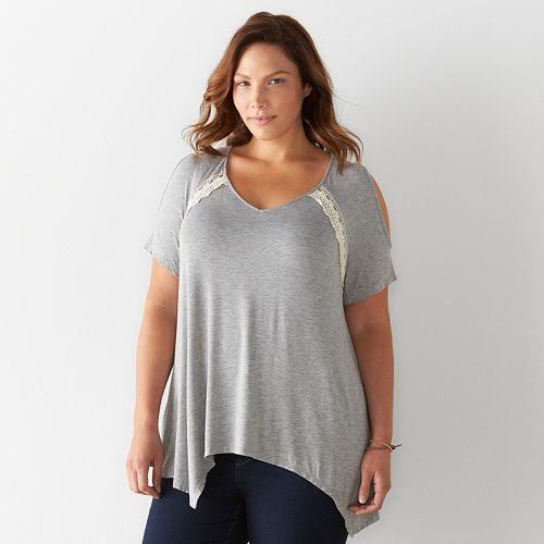 Plus Size SONOMA Goods for Life™ Crochet Cold-Shoulder Top