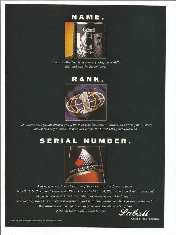 1994 Advertisement Labatt's Ice Beer Black Name Rank Serial