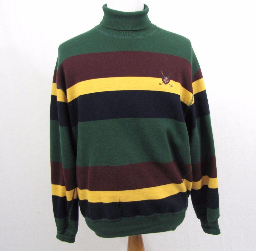 Polo Ralph Lauren Sweater Medium Striped Turtleneck Golf