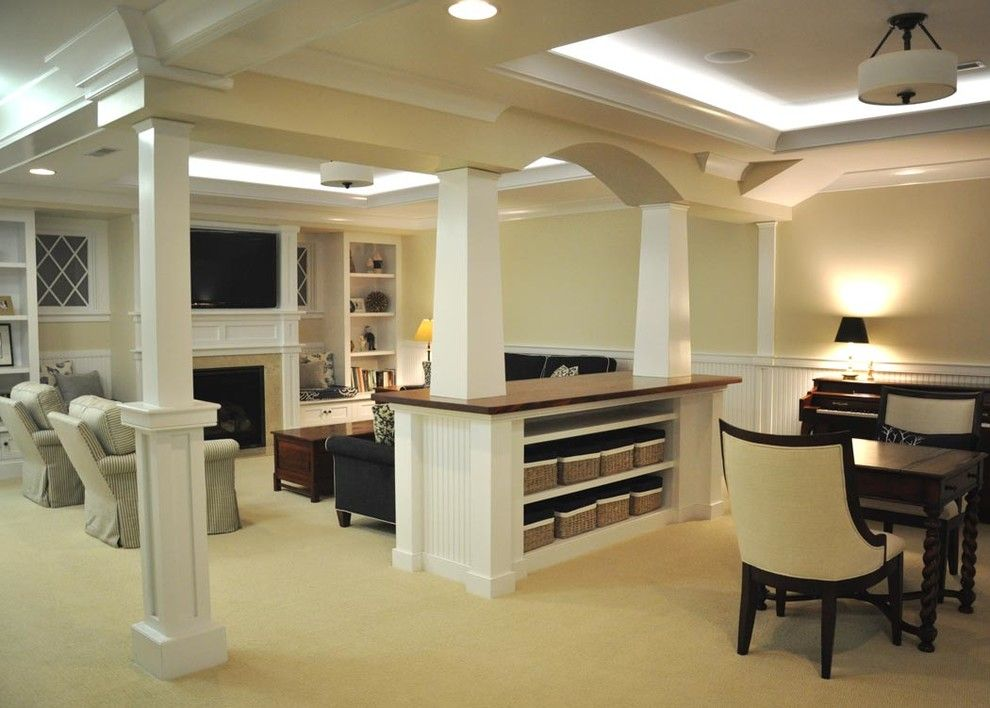 Basement Pillar Ideas Basement Transitional With Tv Tv Tv