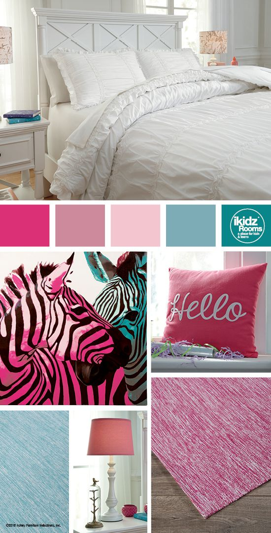 Bedroom Furniture Accessories brently white full duvet cover set - ikidz rooms® - hot pink, cyan