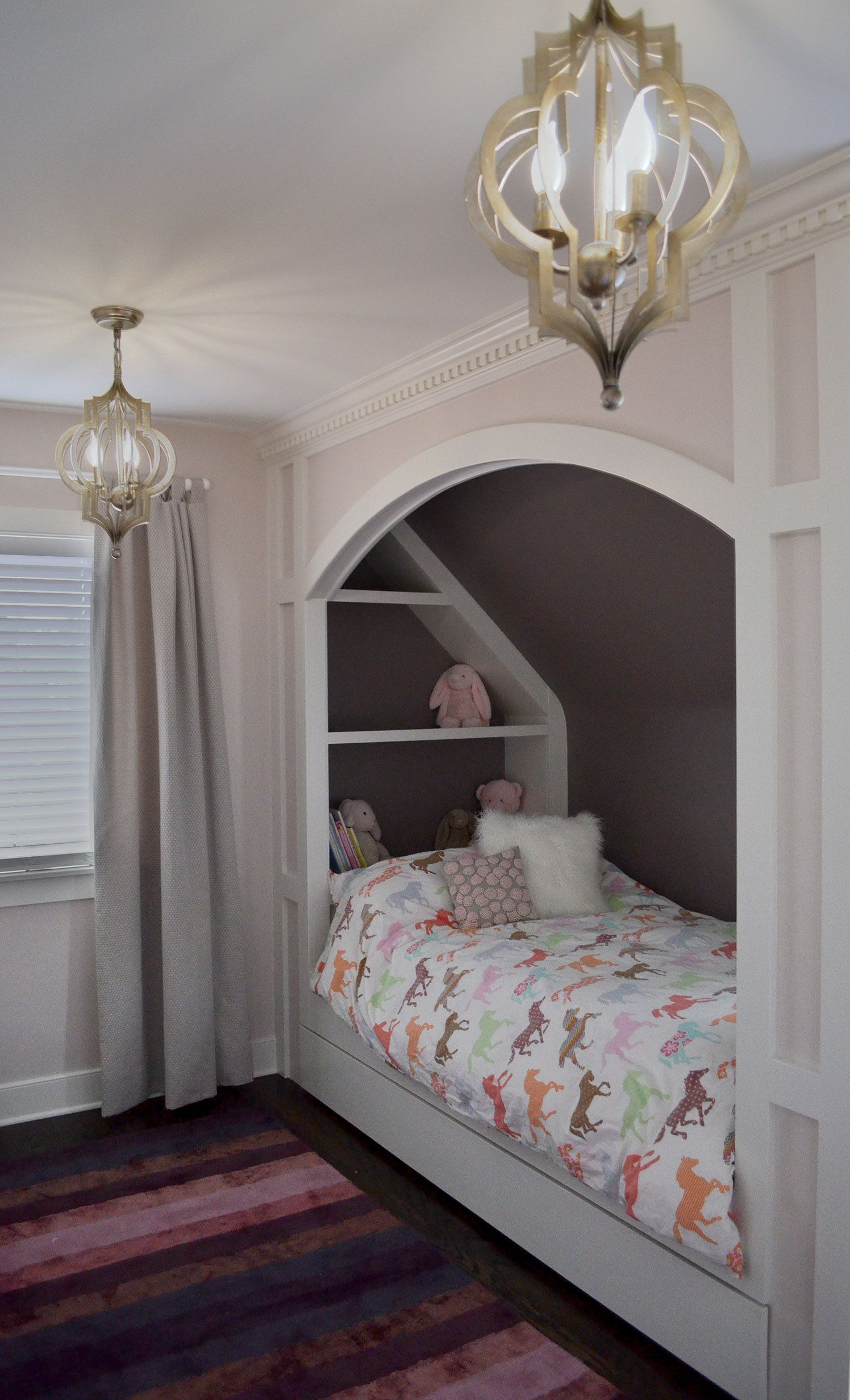 Little girl s room custom built in bed double chandeliers horse