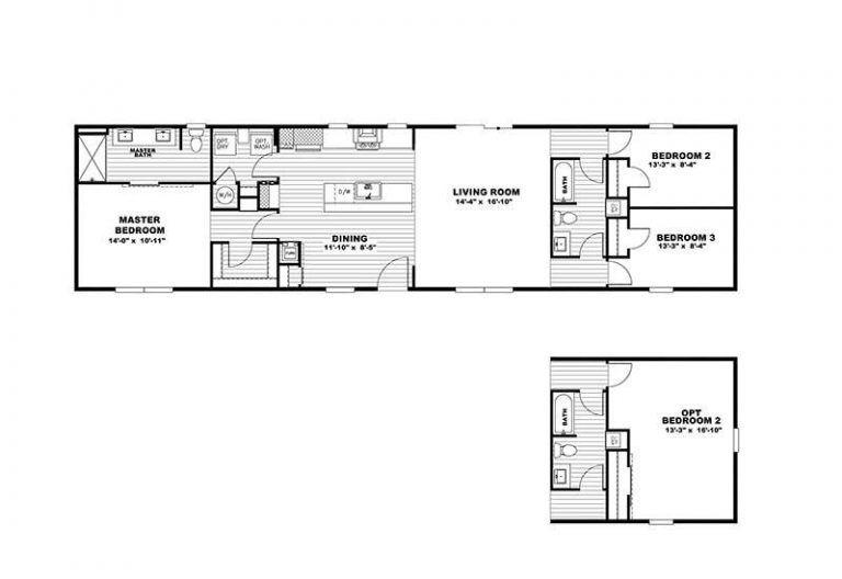 "The Clayton ""Flex"" Model 3 Bedroom 2 Bathroom Mobile Home For Sale"
