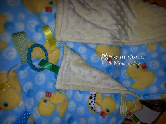 Infant Duck Minky Blanket and Security Tag by WreathClothsbyDee, $18.00