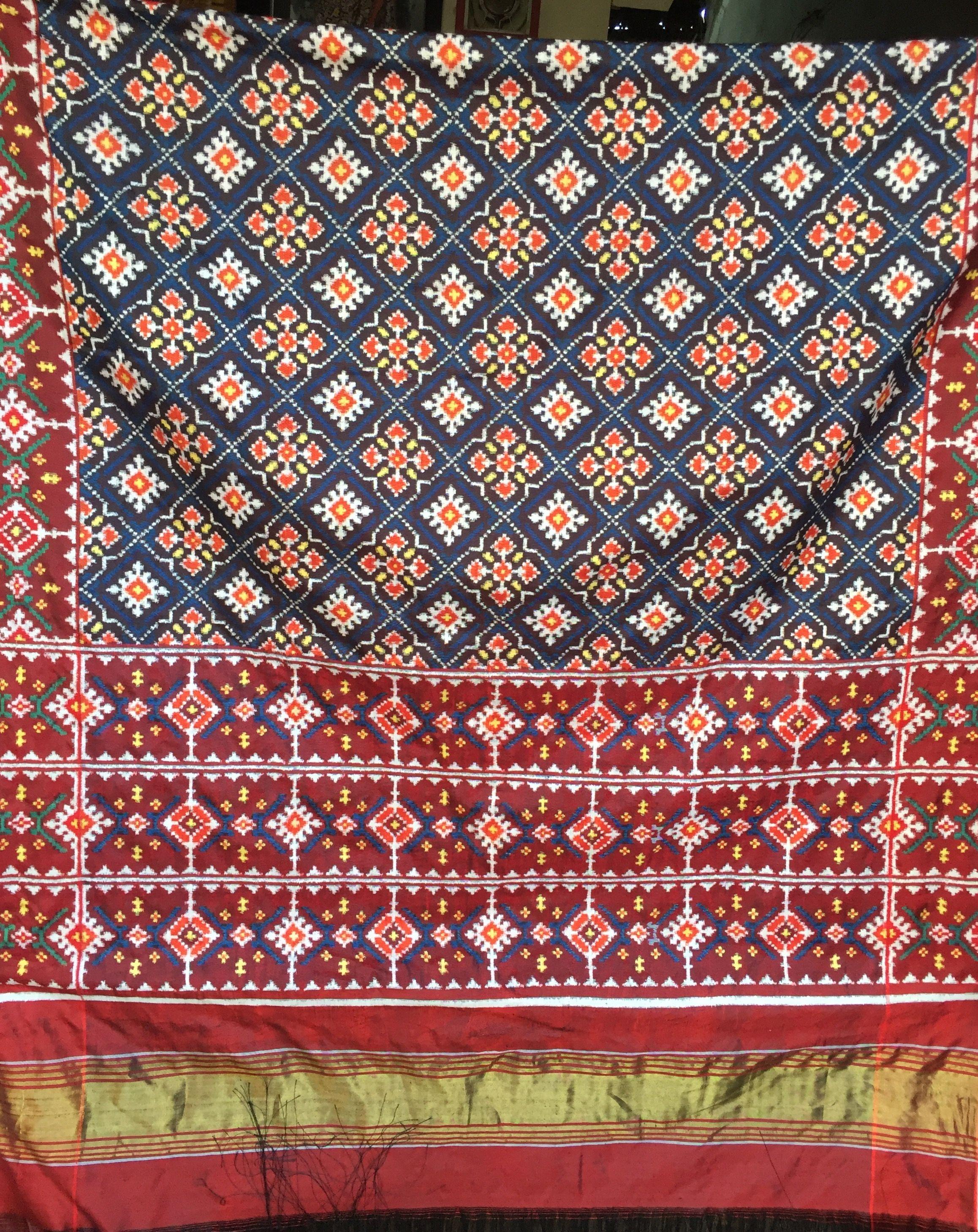 Madhvi Handicrafts Patan Double Ikat Patola With Chanda Design N