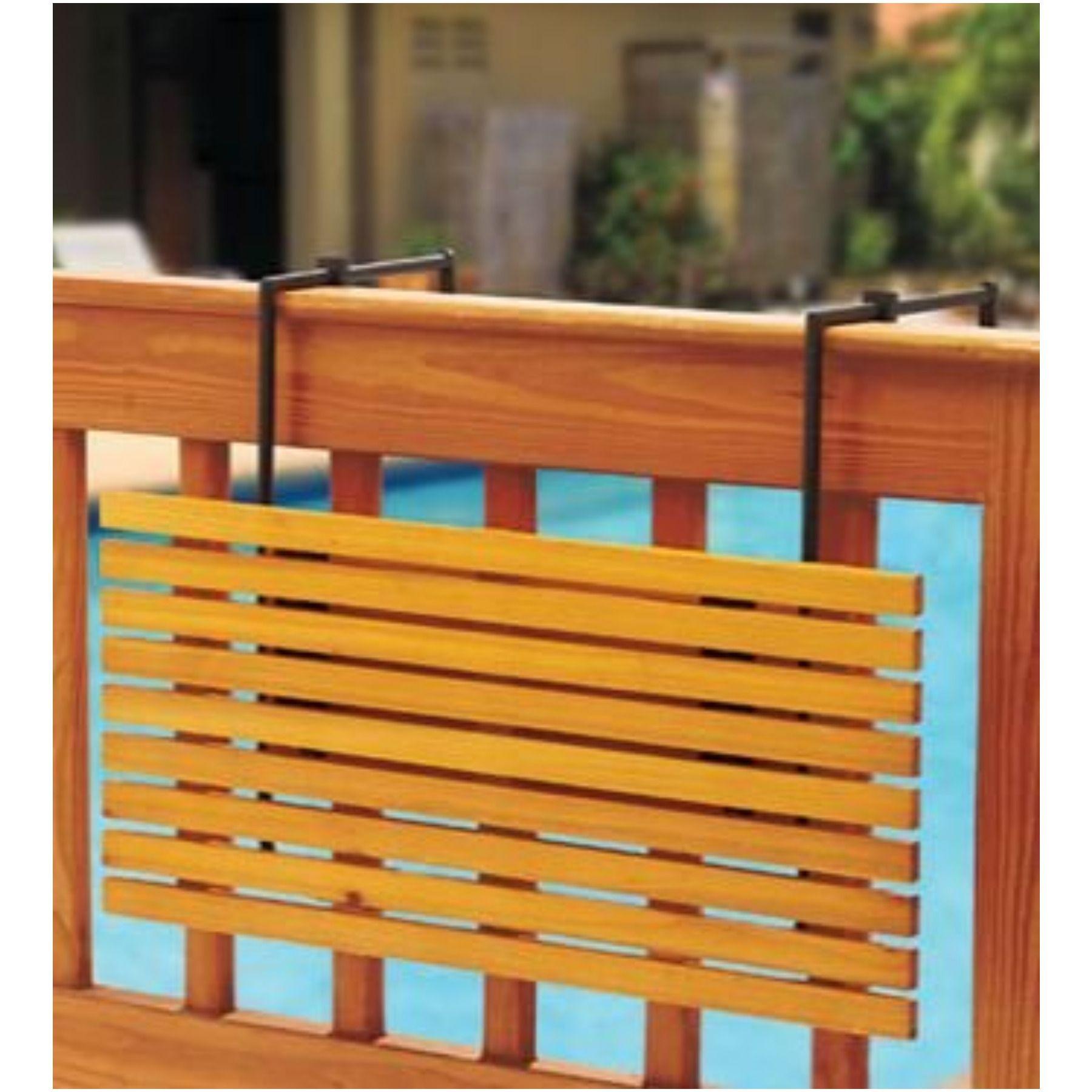 Folding Patio Deck Rail Shelf Table Natural Finish