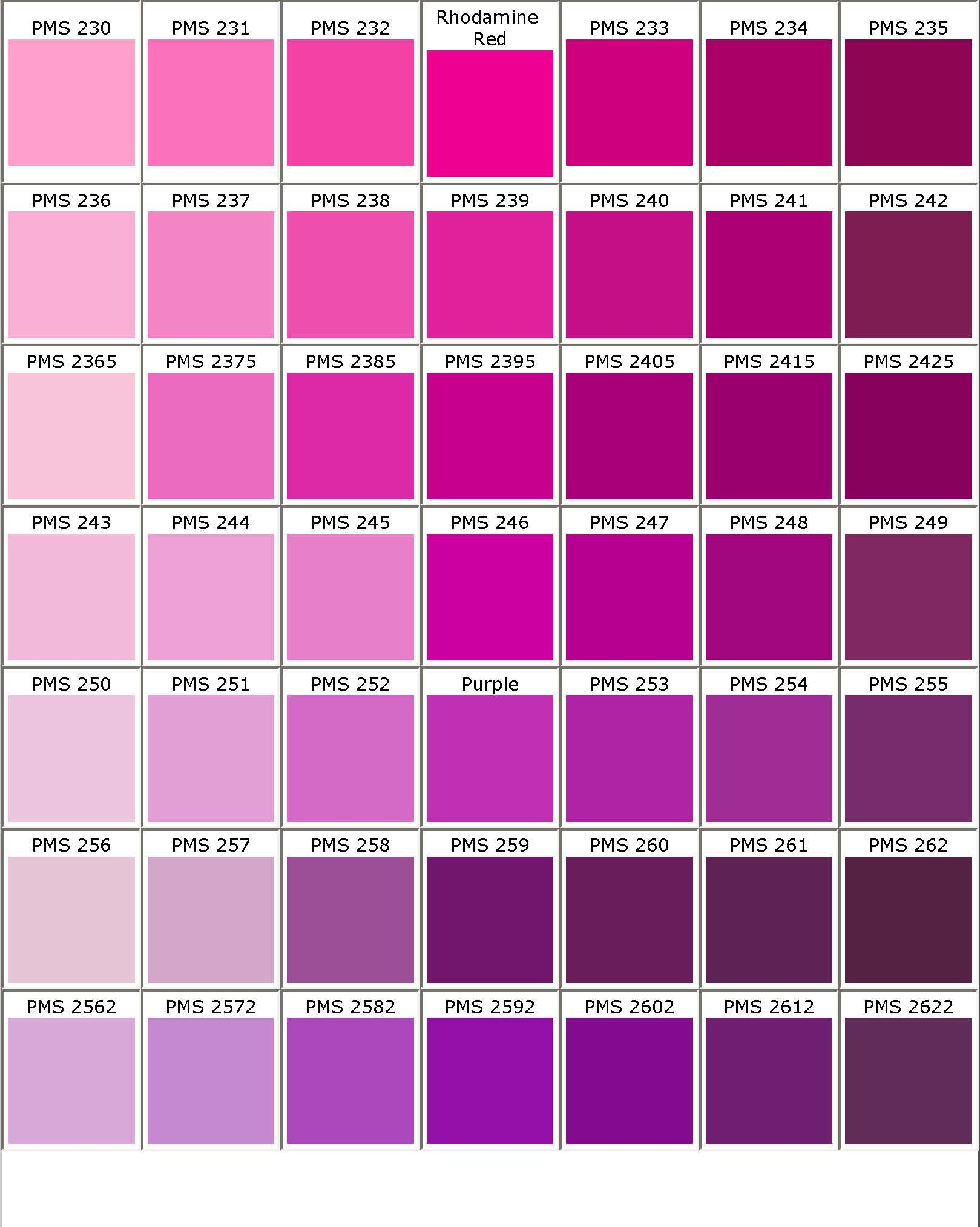 Pantone R Matching System Color Chart PMS Colors Used For Printing Use This Guide To Assist