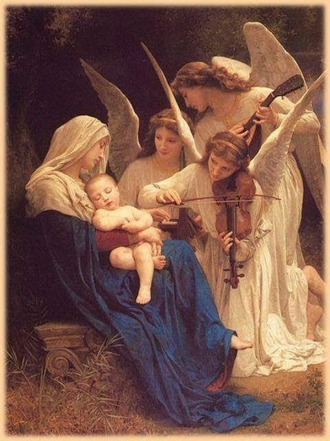 Ángeles le cantan al Niño Jesús.