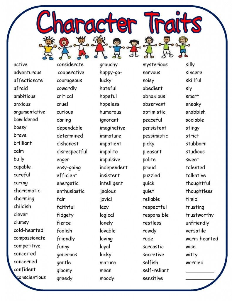 develop self esteem in children and teens character traits list of character traits to help generate ideas for curriculum garden s grade grade level adaptable hand trace drawing activity lesson