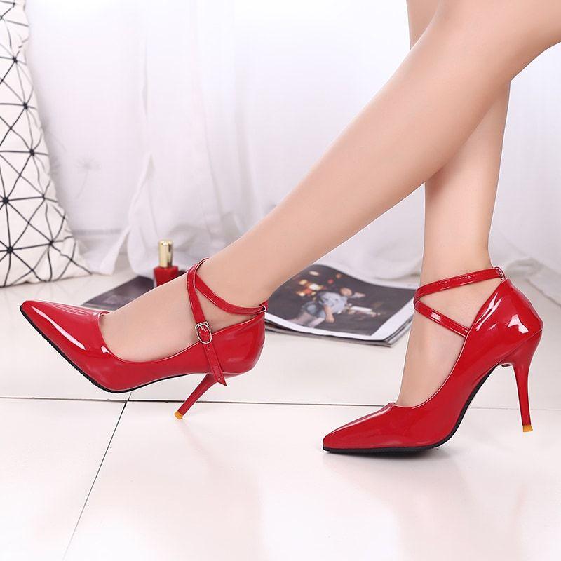 2dc8f5eca56 Hopscotch - Trendy shop - Women Shiny Red Ankle Loop Stilettos