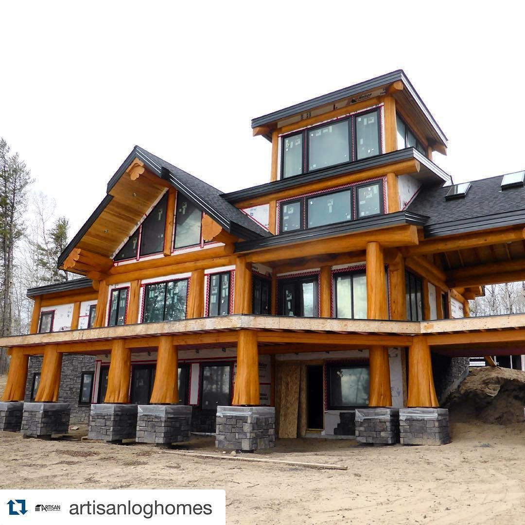 Contractors Of Instagram On Instagram Gorgeous Log Home Built By Artisanloghomes Loghome Log Homes Design Your Dream House Building A House