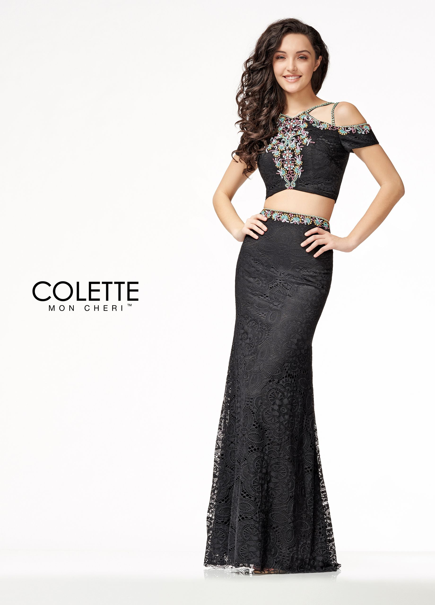 8739833a8304 Colette for Mon Cheri CL18207 - Give them the cold shoulder with this sexy  boho chic two-piece prom dress! This all over modern lace dress features  trendy ...