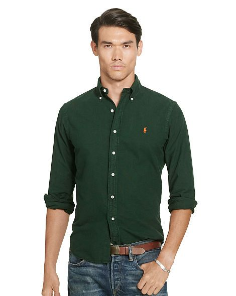 Oxford shirts · Slim Garment-Dyed Oxford Shirt - Polo Ralph Lauren ...