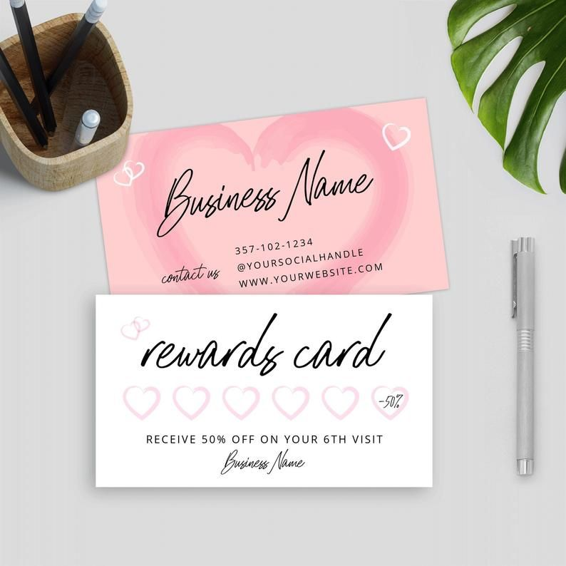 Printable Rewards Cards Template Girly Loyalty Card Template Etsy Loyalty Card Template Customer Loyalty Cards Card Template