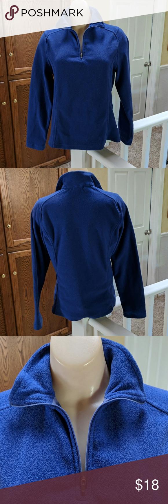 Lands End Women S 1 4 Zip Fleece Pullover Fleece Pullover Clothes Design Blue Sweatshirt [ 1740 x 580 Pixel ]