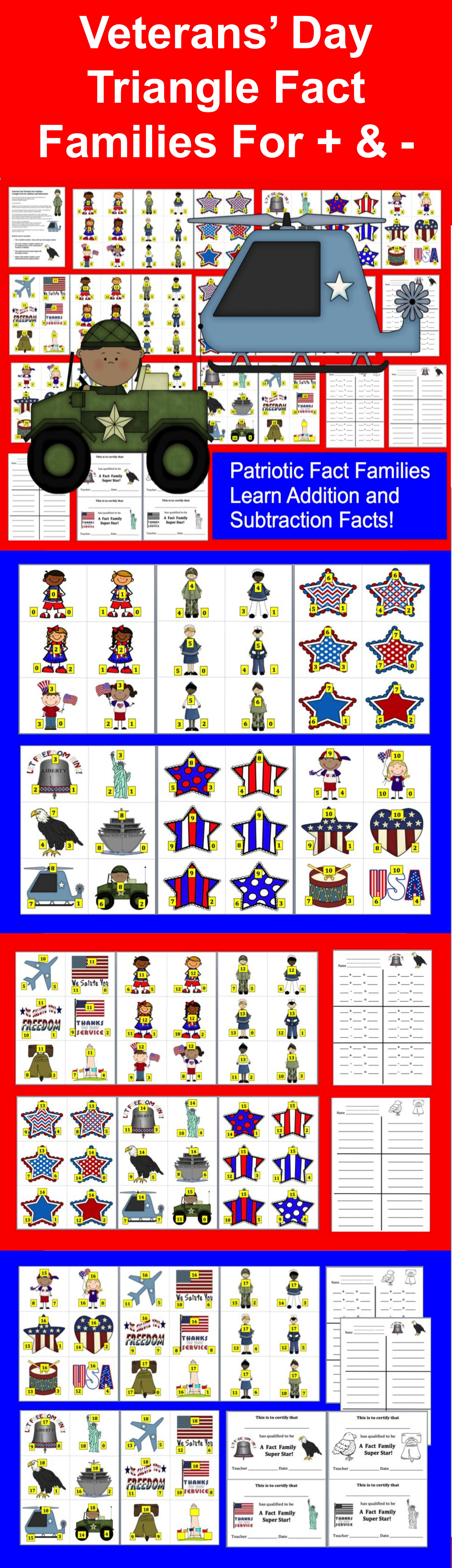 Veterans Day Math Centers 102 Triangle Fact Families