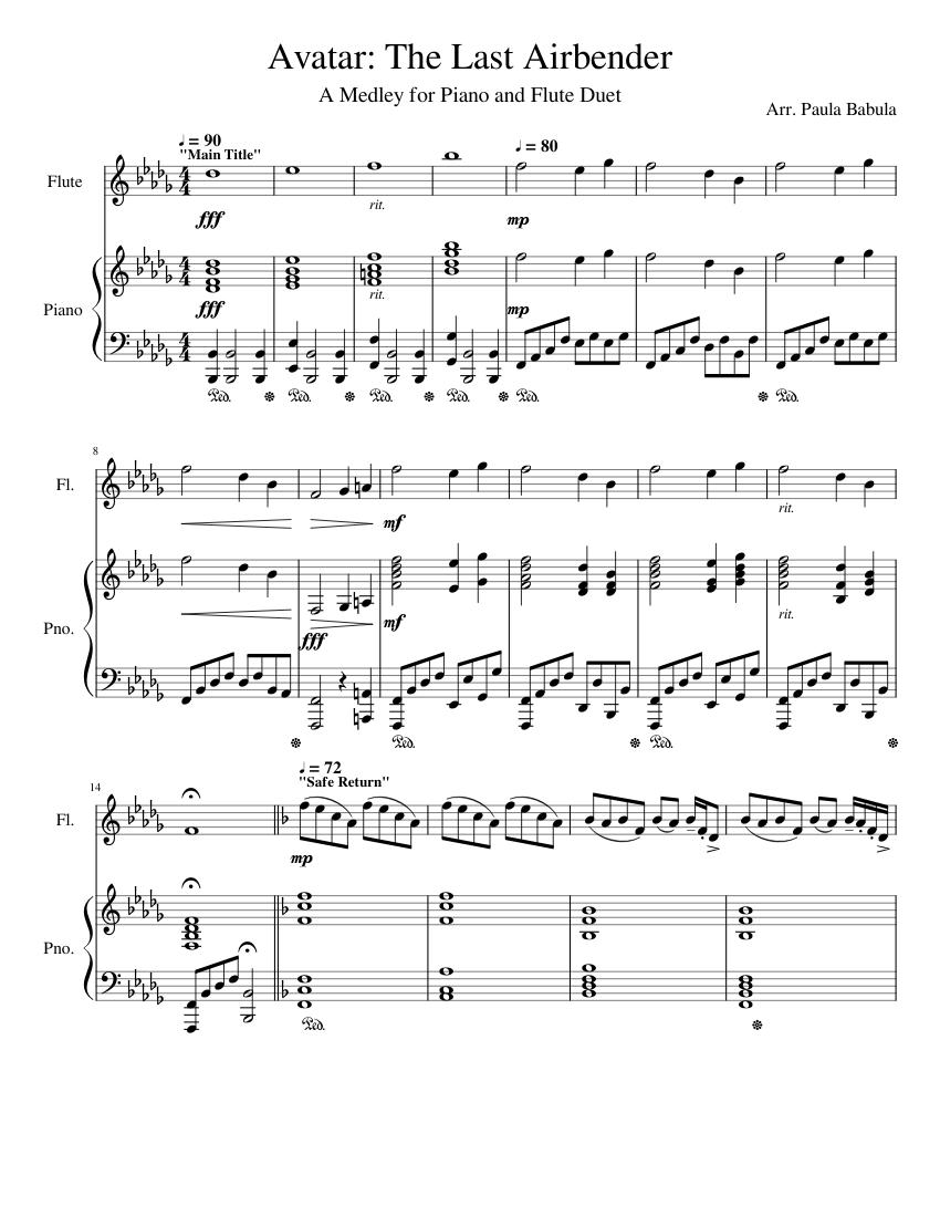Atla Soundtrack : soundtrack, Print, Download, Avatar:, Airbender., Medley, Songs, Airbender, Arrang…, Flute, Music,, Airbender,, Piano, Music