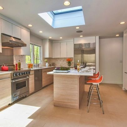 Large Skylight Above The Kitchen Island Less Than Vaulting Ceiling