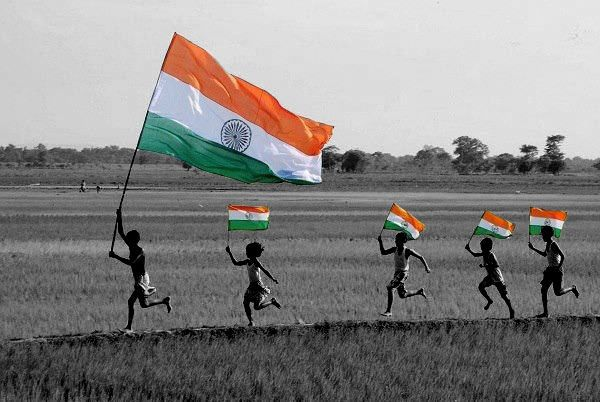 Indian Flag Black And White With Color Photo
