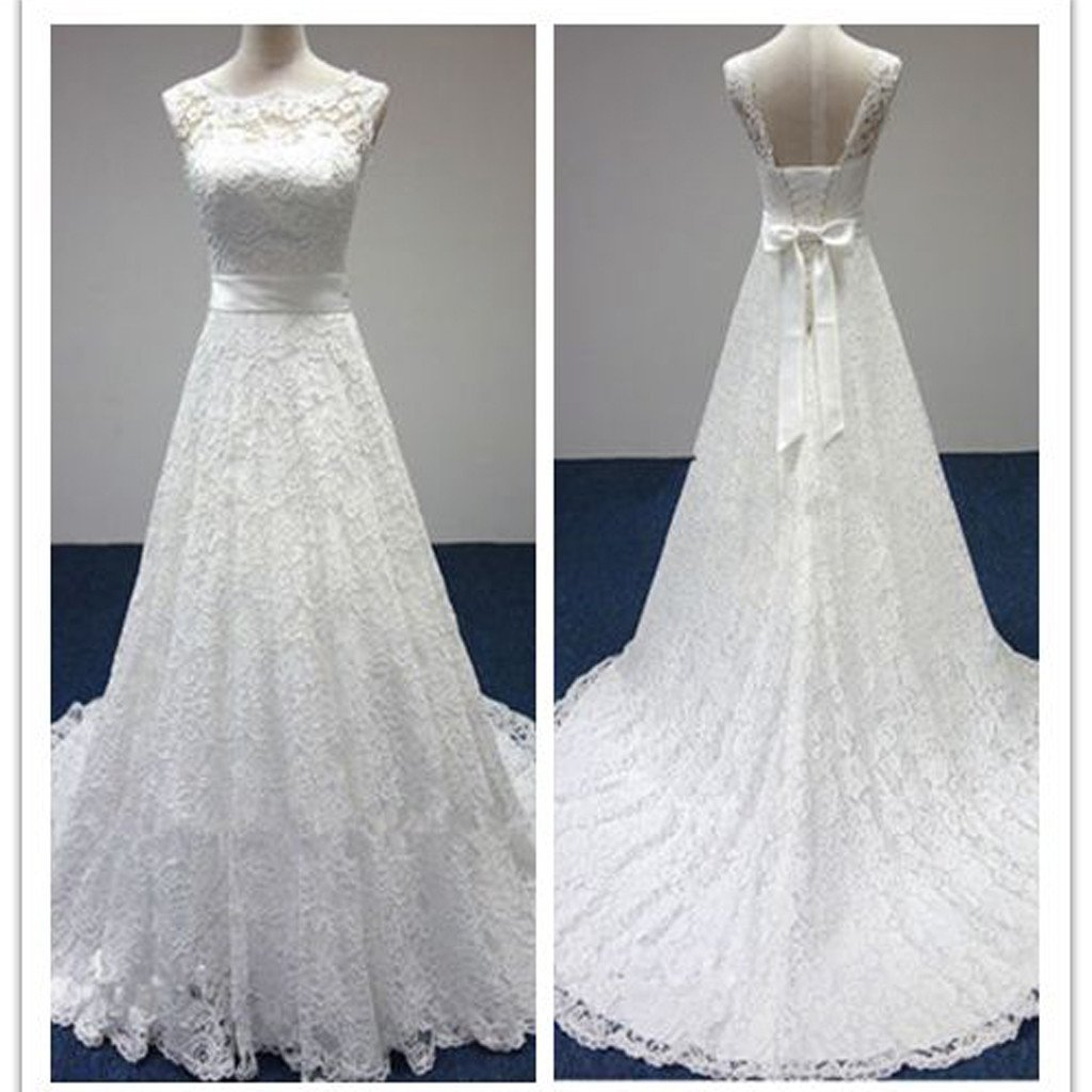 Vintage simple long aline country elegant bridal lace up back bow