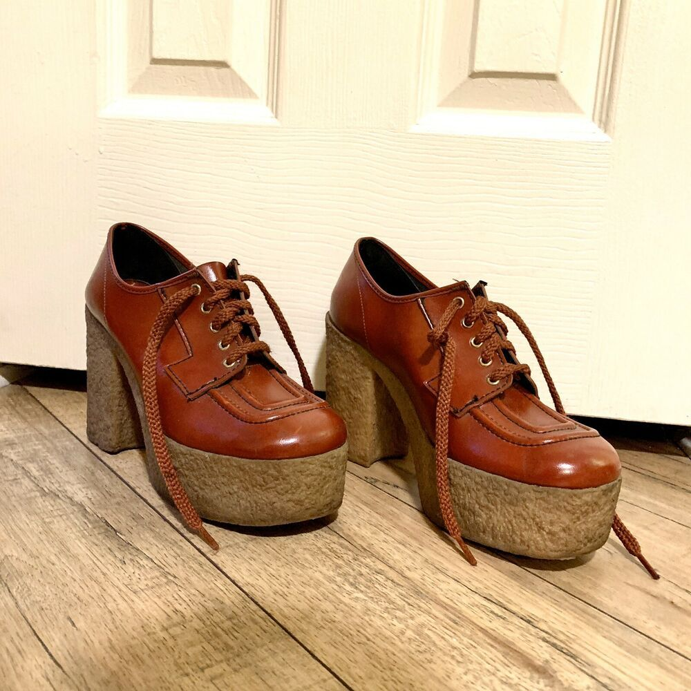 Vintage Retro Platform Chunky Heel Gum Sole Unisex Oxford 1970 Disco Mcm In 2020 Platform Heels Chunky Vintage Shoes Shoes Vintage Retro
