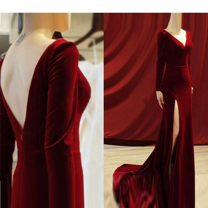 US $72.0 10% OFF|Burgundy Muslim Evening Dresses Mermaid V neck Long Sleeves Velvet Islamic Dubai Saudi Arabic Long Elegant Evening Gown|Evening Dresses| - AliExpress