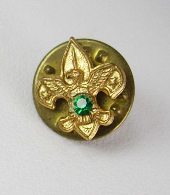 Fleur De Lis Lapel Pin Vintage Tie Tack Emerald Green Jeweled Floral BOY  SCOUT Pinback Birthstone May