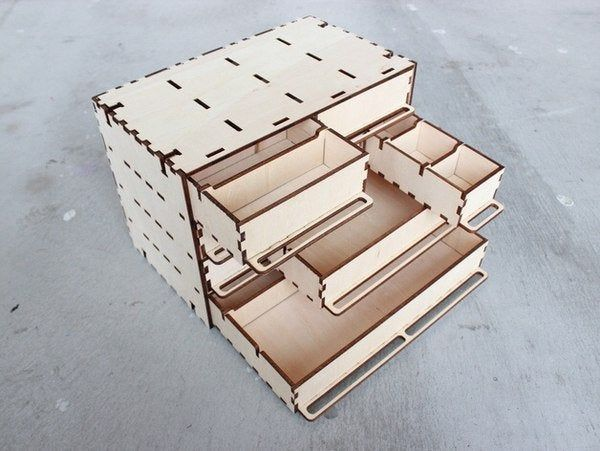 Wooden organizer under the little things. This cnc files