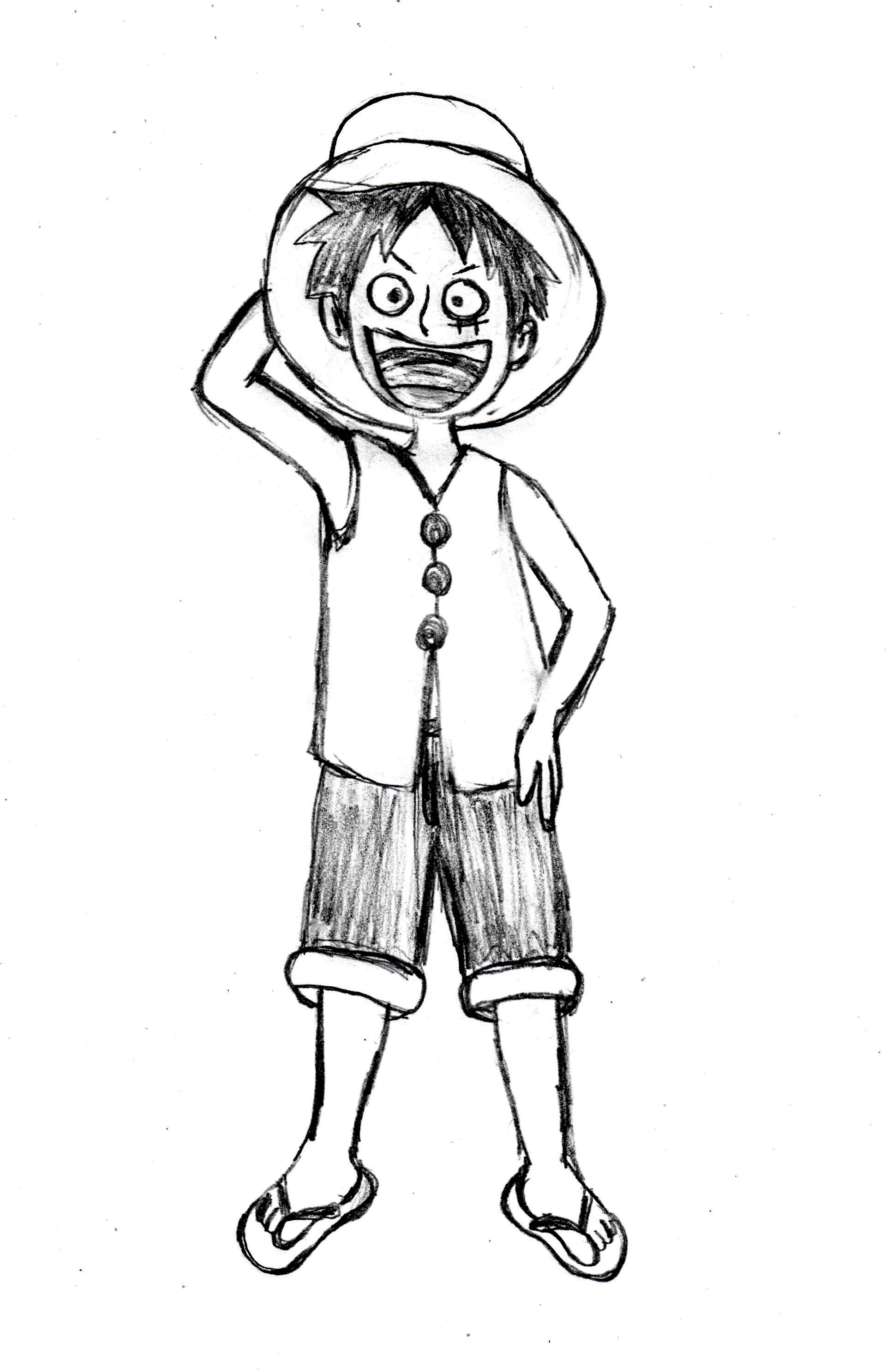 Step By Step Drawing Tutorial For Anime Manga Character Luffy One Piece Drawings Manga Characters Luffy