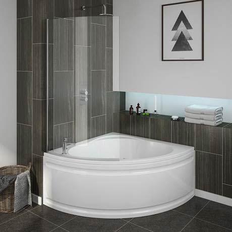 Laguna corner shower bath with screen panel in 2019 - Corner bathtub shower combo small bathroom ...