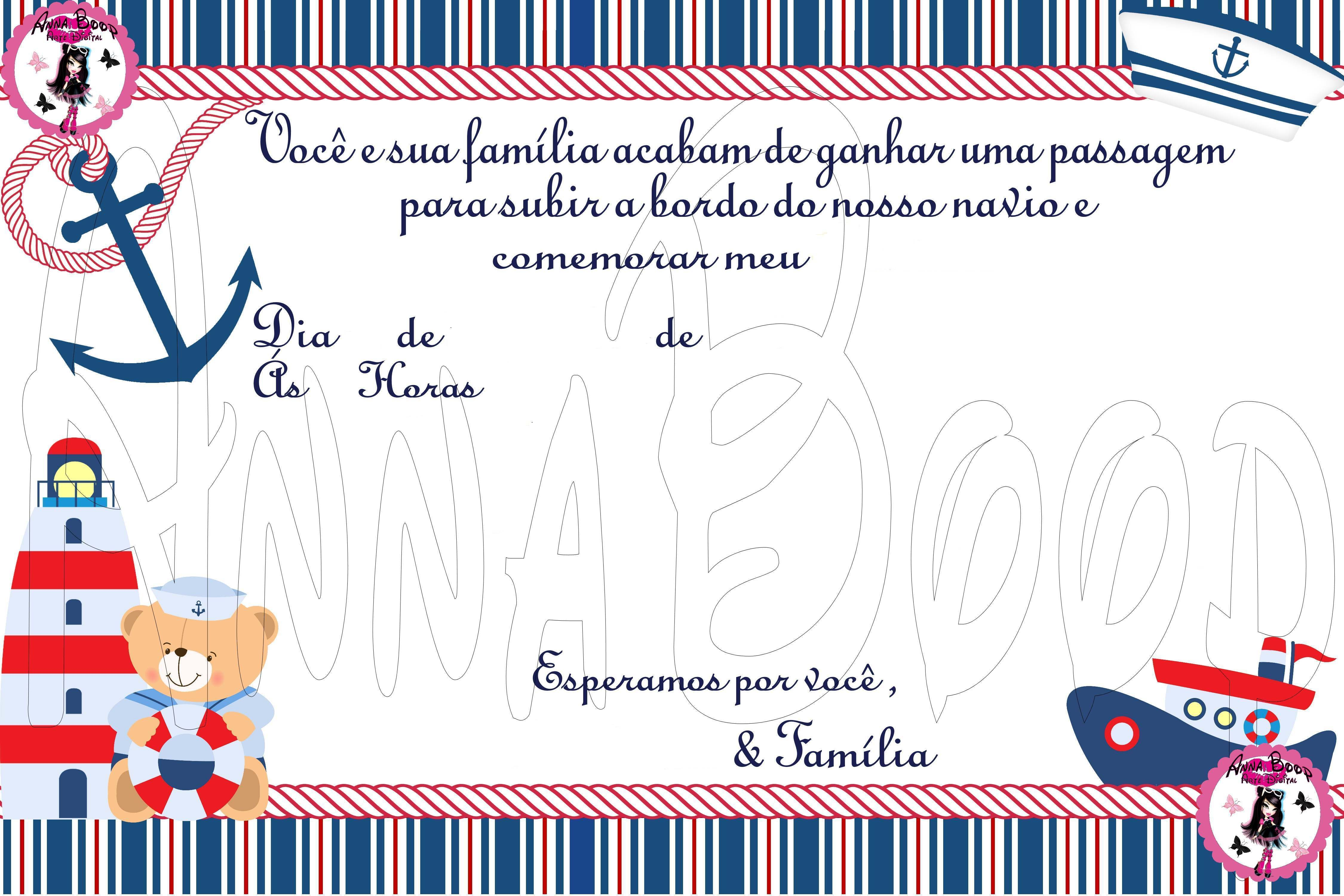 Famosos festa ursinho marinheiro convite - Pesquisa Google | Festa náutica  VN27