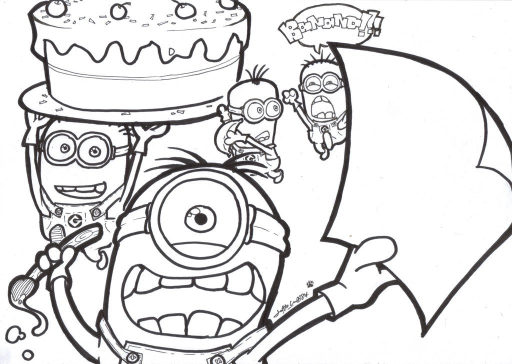 Minion coloring pages, Minions coloring pages, Birthday ...