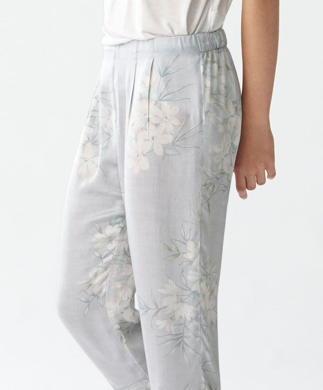 b4d226d574b6c Oysho - Long trousers with jasmine flower | Sleepwear & Intimates ...