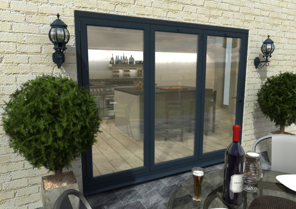 Climadoor Grey Aluminium Bi Folding Patio Doors Kitchen