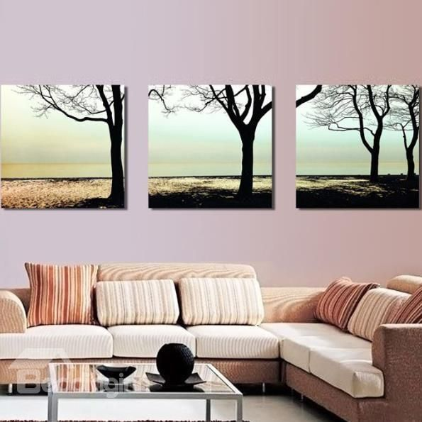 New Arrival Elegant Trees On The Bank Print 3 Piece Cross Film Wall Art Prints Canvas Decor Modern Abstract Painting Abstract Painting