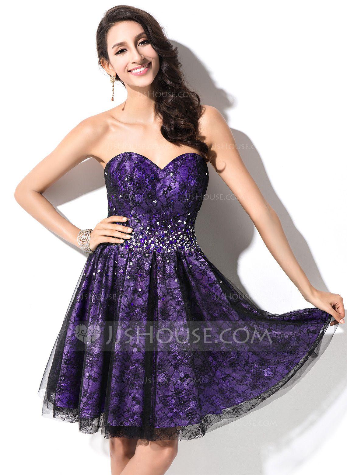 A-Line/Princess Sweetheart Short/Mini Taffeta Lace Homecoming Dress ...