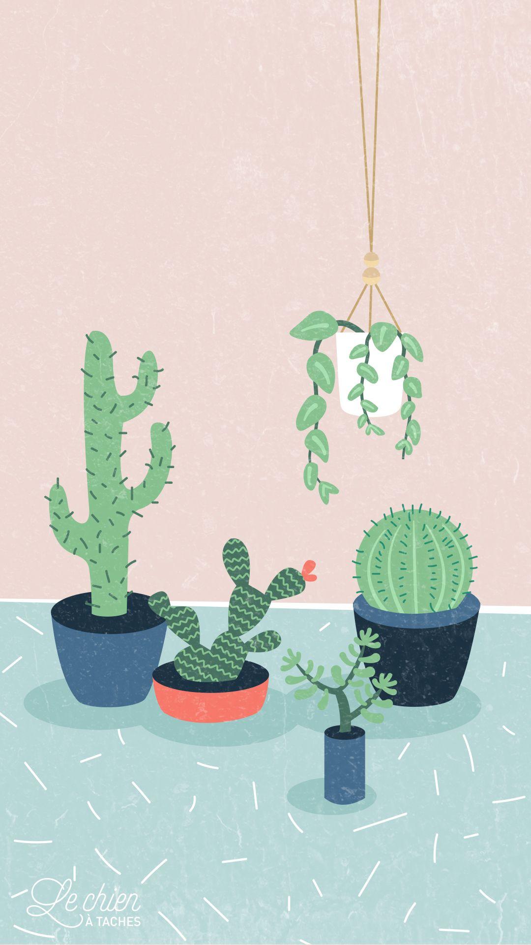 Cactus Girl Pastel iPhone Lock Wallpaper PanPins Fondos