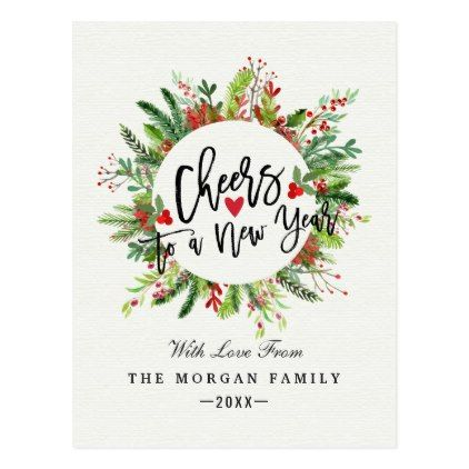 cheers to a new year script holly wreath greetings postcard merry christmas postcards postal family xmas card holidays diy personalize