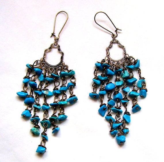 Bronze colour earrings with turquoise by Cassandrasmagickshop