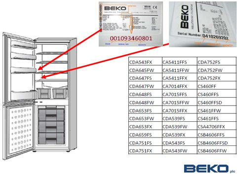 Beko frost free fridge freezers built Jan 2000 Oct 2006