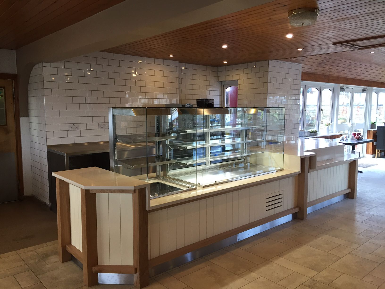 refurbished restaurant area comprising new food service counter