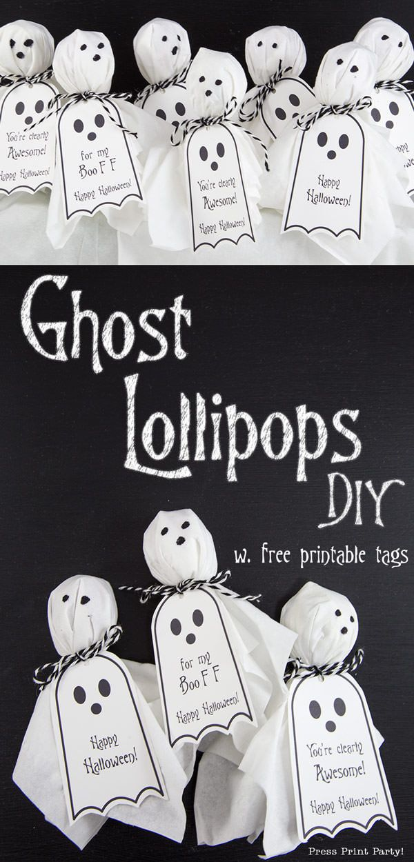 Photo of Ghost Lollipops w. FREE Printable Halloween tags – Press Print Party!