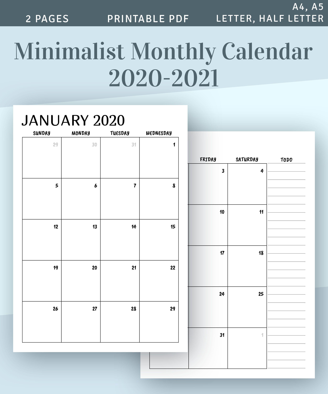 Printable Half Size Monthly Calendar 2021 Background