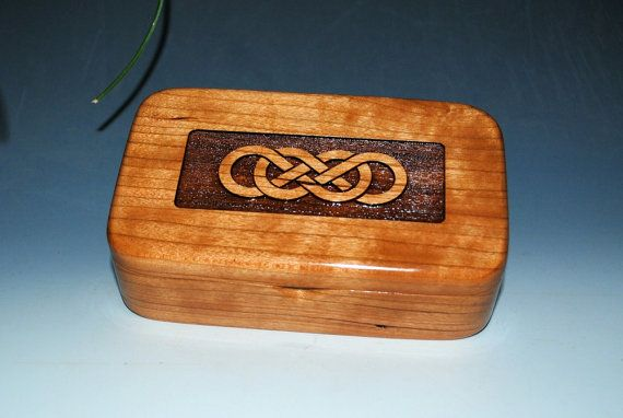 Double Infinity Laser Engraved Cherry Handmade by BurlWoodBox