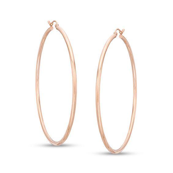 60mm Tube Hoop Earrings In 14k Rose Gold Piercing Pagoda In 2020 Hoop Earrings Rose Gold Hoop Earrings Rose Gold